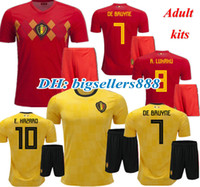 Wholesale best shirt breathable - HAZARD DE BRUYNE 2018 World Cup Home red Belgium soccer Jersey kits NAINGGOLAN LUKAKU KOMPANY MERTENS best quality 18 19 away Football Shirt