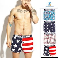 мужское нижнее белье оптовых-Pink Heroes Men Underwear Boxers Printed Cotton Loose Pants Underwear Men Boxer Shorts Sexy Shorts Cuecas
