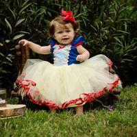vestidos brancos para bebês venda por atacado-Varejo vestido de baptismo do bebê menina vestido de baptizado Branca de Neve Vestido de Princesa Crianças Trajes Cosplay Roupas Crianças Dancewear roupas de outono