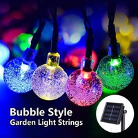 Wholesale Festival Gardens - Solar String Lights Outdoor Fairy Lamp Multicolor 30 LED Crystal Ball Christmas Trees Garden Party Decor for Festival