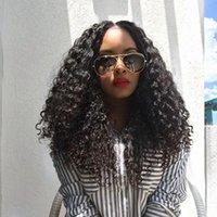 afro bebek saç dantel perukları toptan satış-Brezilyalı Dantel Ön İnsan Saç Peruk Bebek Saç Ile Remy Afro Kinky Kıvırcık Dantel Peruk Ön Koparıp Ağartılmış Knot