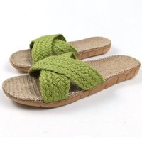 ремни шлепанцы оптовых-2018 Summer Home Linen Non-slip Breathable Slippers Women Cross Belt Indoor\Floor Girls Gift Beach Open-Toed Slippers Shoes