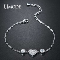 Wholesale umode bracelets resale online - UMODE New Fashion Jewelry Link Chain Bracelets for Women Cute Heart CZ Crystal Engagement Gifts Pulseira Feminina Bijoux UB0119B