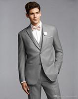 Wholesale make light panel resale online - Custom Made Light Grey Men Suits Wedding Suits For Man Bridegroom Goomsmen Best Men Formal Slim Fit Skinny Tuxedos Prom Party Piece