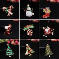rhinestone jewelry christmas tree brooch NZ - New Fashion Christmas color stone brooch Santa Claus socks and The Christmas tree with Rhinestone for Women Jewelry Pins