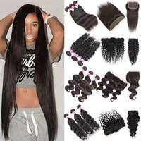 Wholesale peruvian water wave extension - Cheap Brazilian Virgin Human Hair Bundles with Closure Straight Deep Body Water Wave Kinky Curly Hair Extensions 3 Bundles with Lace Frontal