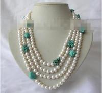 ожерелье из голубого бирюзового жемчуга оптовых-Бесплатная доставка 4rows 7 мм круглый белый пресноводный жемчуг синий бирюзовый ожерелье