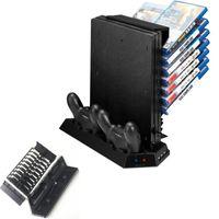 controlador ps4 más frío al por mayor-Soporte vertical multifuncional para PS4 Pro-Enfriamiento del refrigerador Controlador del ventilador Estación de carga con cargador Dualshock para almacenamiento de juegos