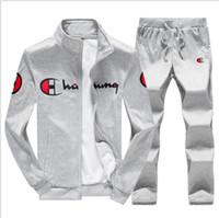 erkekler spor set hoodies kış toptan satış-Kış Eşofman Erkekler Set Sporting İki Adet Eşofman Erkek Giysileri Baskılı Kalın Kapşonlu Hoodies Ceket + Pantolon Eşofman Erkek