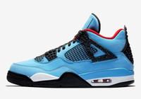 Wholesale x men latex - 2018 New #23 Jumpman 4 IV Travis x Houston University Blue Black Red Sports Basketball Shoes for Men 4s Designer Trainers Sneakers Size 7-13
