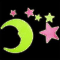 Wholesale Chart Stars - Star Moon Fluorescent Luminous Wall Sticker Glow In The Dark Stars Eco friendly PVC Decorative Wall Decal Kids Baby Rooms Decoration Sticker