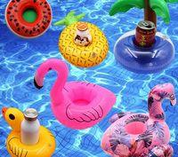aufblasbare pvc spielwaren für kinder großhandel-Aufblasbare Spielzeug Getränke Getränkehalter Wassermelone Zitrone Flamingo Pool schwimmt Untersetzer Flotation Geräte für Kinder Kinder Pool Parteien Bad Spielzeug