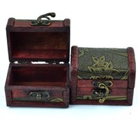 Wholesale Mini Wood Pieces - Vintage Jewelry Box Organizer Storage Case Mini Wood Flower Pattern Metal Container Handmade Wooden Small Boxes