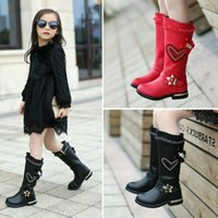 kids low heels NZ - Kids Fashion Girls Winter Boots Flat Heel Cute Long Boots Pointed Toe Knee High Child Girl Casual Cute Flats Boot