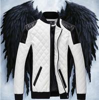 куртки прохладно воротник оптовых-Искусственная кожа Constrast цвет куртка мужская мода стенд воротник открытый пальто мужской прохладный мотоцикл тонкий пальто куртки топы зимние пиджаки