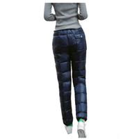 bajar los pantalones al por mayor-2017 Nuevas Mujeres Pantalones de Invierno Cálido Grueso Pato Abajo Pantalones Ropa Exterior Alta Cintura Delgada Recta Pantalones a prueba de frío Más Tamaño QXQ015