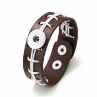 pulseras para mujer usa al por mayor-Pulsera de fútbol de los ee.uu. 315 tejida a mano cuero real retro pulsera de moda 18 mm botón a presión joyería del encanto de la joyería para mujeres regalo