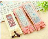 Wholesale tv remote covers cases resale online - Bowknot Lace Dust proof Cover for Remote Control TV Air Condition Controller case Decoration bag lace Remote Control Protective Cover