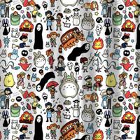 tecidos florais para cortinas venda por atacado-Miracille Totoro Chuveiro Bonito Dos Desenhos Animados Moderna Decoração Do Banheiro Cortinas de Banho À Prova D 'Água Tecido de Poliéster Cortina do Miúdo 12 anzóis