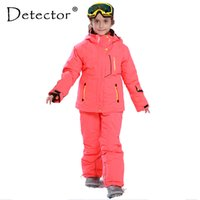 Wholesale Warm Pants For Kids - Wholesale- Detector Girl Winter Windproof Ski Jackets + Pants Outdoor Children Clothing Set Kids Snow Sets Warm Skiing Suit For Boys Girls