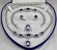 ensembles de boucles d'oreilles collier turquoise achat en gros de-Beautiful! Améthyste Inlay Link Bracelet boucles d'oreilles Ring Necklace Set