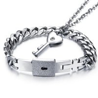 Wholesale Lock Key Couples Jewelry - Lovers Fashion Jewelry Sets Necklace Bracelet Set For Women Men Stainless Steel Couple Accessories Key Lock Pendants OGX001