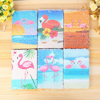 Wholesale 2018 Sequined Unicorn Notepad Mermaid Fish Scales Diary Animal Pattern Sequin Notebook Flamingo Mermaid Sequins Scales Notebook