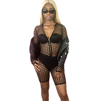 ingrosso maglia cerniera-Sexy Mesh Jumpsuit Nero Playsuit Donna Front Zipper Hollow Out Manica lunga See Through Clubwear Party Bodycon Romper Shorts