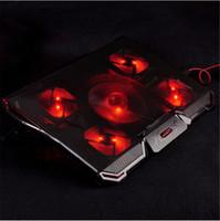"""ventilador de refrigeração para processador laptop venda por atacado-Almofada de resfriamento laptop cooler com Silêncio 5 pcs LED Ventiladores USB 2.0 Ajustável Suporte do Notebook para macbook air / pro 12 """"13"""" 14 """"15.6"""" 17.3 """""""