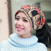 Wholesale Turbans Hats Scarves - Fashion 2018 Autumn and winter muffler hats scarf dual-use hat The British style cap turban beanie hats for women Free shopping