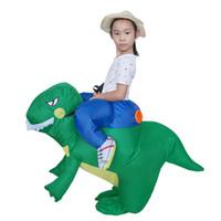 vestido de dinossauro adulto venda por atacado-2018 Fashion Green Inflatable Dinosaur Costume Kids e Adult Fancy Dress Costume Impermeável Poliéster Trajes de Halloween Trajes Design Bonito