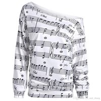 Wholesale musical sleeve - Casual New Spring Autumn Musical Notes Print Long Sleeve Sweatshirt Women Fashion Basic Casual Long Sleeve Print Tops