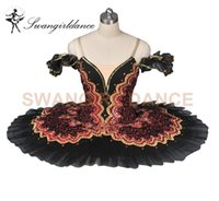 Wholesale Swan Dress For Girls - Free shipping Girls Professional Tutu Dress Women Black Swan Performance Stage Tutu for competitonsBT8941