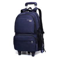 trolley kinder großhandel-Kofferrucksack für Kinder Taschen für Junge Schüler Trolley-Rucksack Schultaschen mit Rädern Kindern Rollfahrwerk