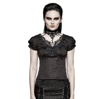 Wholesale Women Gothic T Shirts - Women New Fashion Short T-shirt Gothic Punk Swallow Tail Romantic Lace Collar Tightness Adjustable Short Sleeve T-shirt