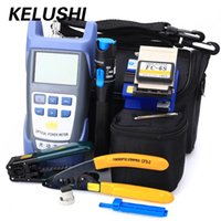 Wholesale fc fiber optic - KELUSHI Fiber Optic FTTH Tool Kit with FC-6S Fiber Cleaver and Optical Power Meter 5km Visual Fault Locator 1mw Wire stripper