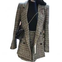 roupas femininas saias de escritório venda por atacado-Two-pieces Set Outono Inverno Mulheres Houndstooth Saia Ternos Casuais Xadrez De Lã Blazer + Saia Set Ternos Escritório Feminino A784