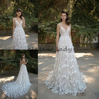 Wholesale short wedding dress sweetheart neckline for sale - Berta Bridal Lace Wedding Dresses Spaghetti Sweetheart Neckline Backless Applique D floral Cathedral Train Sleeveless Wedding Gown