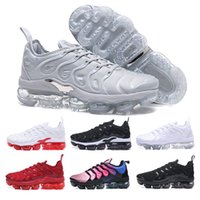 Wholesale colorful womens shoes - 2018 New Colors Vapormax TN Plus Olive Mens Womens Sports Running Shoes Women Sneakers Metallic White Silver Colorful Triple Black 40-46