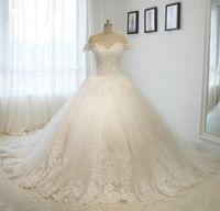 vestidos de noiva de tamanho real mais venda por atacado-Foto Real 2019 Lace Vestido De Noiva Fora Do Ombro Plus Size Vestido de Baile Frisado Vestido de Noiva Lace Up Vestidos de Noiva