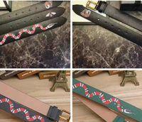 Wholesale tigers belt - Luxury Brand Designer Belts for men Fashion High quality snake tiger bee pattern Black and green Genuine leather buckle belt for women B526
