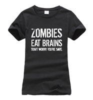 корейские футболки бренды оптовых-Zombies Eat Brains so You're Safe print women t-shirt 2017 summer fashion harajuku  korean tee shirt femme funny punk tops