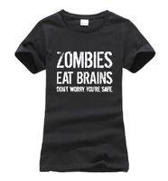 lustige koreanische t-shirts großhandel-Zombies Essen Gehirne, so dass Sie sicher sind, drucken Frauen T-Shirt 2017 Sommer Mode Harajuku Marke koreanische T-Shirt Femme lustige Punk Tops