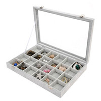 Wholesale box case aa online - New Pure Color Ring Earring Necklaces Makeup Holder Case Jewellery Boxes Ice Floral Transparent Belt Cover Jewelry Display Box yc aa