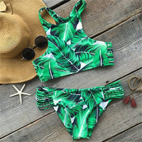 traje de baño verde al por mayor-Femme Swimwear Sexy Woman Swimsuit Lady Bikini Green Leaf Printing Playa trajes de baño sin respaldo adulto apriete 19 5ms V