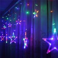 cortina de luz 12v venda por atacado-2.5 m led pentagrama cortina lâmpada luzes de natal casamento iluminação fabricantes vendas diretas