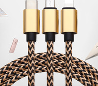 Wholesale 3 in Type c Usb C Micro Cable High Quality M Braided alloy usb data charging cable wire for samsung s8 note android phone x xs