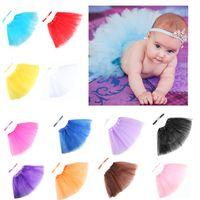 trajes de utilería infantil al por mayor-Fotografía de bebé Prop Infant Tutu Falda Corona Hairband 2 UNIDS Bow-Knot Vestido trajes con diadema fiesta de cumpleaños bebé accesorios