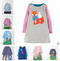 Wholesale Chocolate Birds - Ins Clothes Baby Girls Dress Bird Animal Fox Vestidos Christmas Dress Princess Costume for Kids Clothes Long Sleeve Gifts DHL Free Shipping