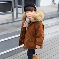 2020 New Winter Jacket Kids boy 2-10 old size fur hooded coats Boys Winter Jacket 7WT050